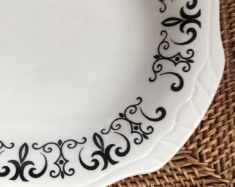 Large Oval Platter, Modern Black Filigree Scroll on Scalloped Rim, Homer Laughlin Best China, ca. 1972