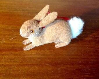 Vintage Kunstlerschutz bunny rabbit flocked with red ribbon West Germany Handwork