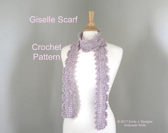 Lacy Scarf Crochet Pattern, Skinny Thin Scarf, Scallop Edge, Quick Crochet, One Skein Scarf, Worsted Yarn, Elegant Wrap Scarf