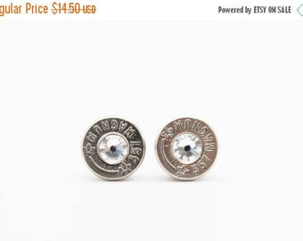 30% OFF SALE Bullet Earrings . 357 Magnum Nickel Plated Brass.  April . Diamond