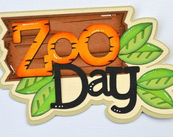CraftECafe Zoo Day Paper Piecing for Premade Scrapbook Page Layout