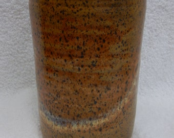 """Stoneware Pottery / Ceramic 6"""" Tall x 4"""" wide Lidded Canister Red Gold High Fire Glaze"""