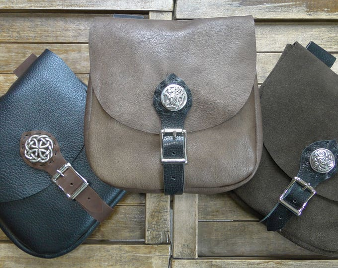 Medieval Leather Pouch, Renaissance Bag, Celtic w/ Buckle Closure, Large - The MERCHANT