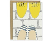 Shoe Card - Striped Flats & Yellow Boots Card, Shoe Love Card, Friend Card, Anniversary Card, Couple Card