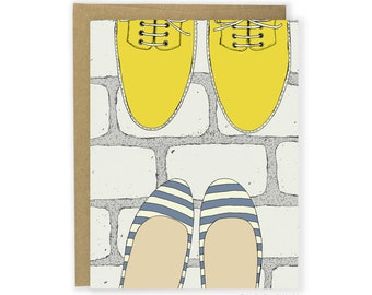 Shoe Card - Striped Flats & Yellow Boots Card, Shoe Love Card, Friend Card, Anniversary Card, Couple Card