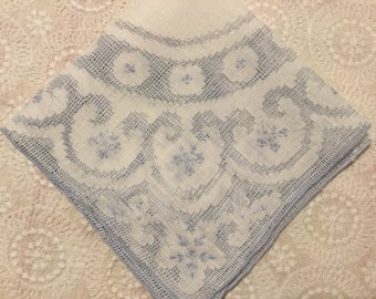 Vintage Embroidered Handkerchief,Bridal Hankie,Something Blue