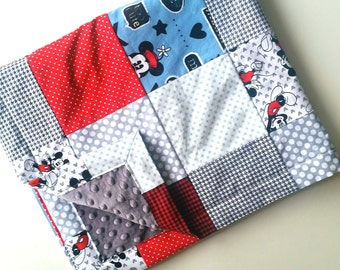 MADE TO ORDER    Mickey Patchwork Baby Blanket    Mickey Mouse Baby Blanket    Disney Baby Blanket    Red, Blue & Grey Mickey Blanket