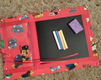 "Paw Patrol fabric chalkboard mat, 15 "" x 10 "", chalk & sponge included  (ROLL UP MAT )"