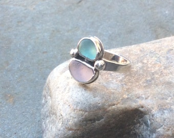 Sea glass jewelry,  Aqua and pink sea glass bezet set sterling silver ring, size 6