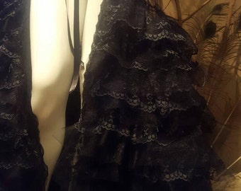 Sample*****Black robe, Lingerie,Costume,Lace,Spanish,Flamenco,Gothic
