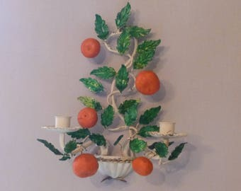 French Vintage Toleware Tole Wall Light Candle Sconce Oranges and Foliage Two Branch