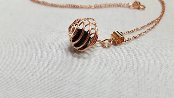 Crystal Rose gold pendant - black