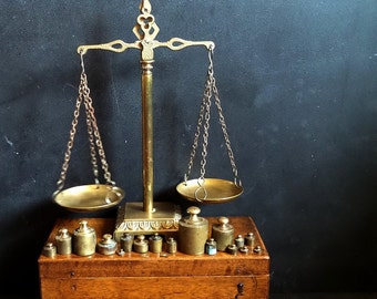 Vintage French Balance, Justice Scales, with Scale Weight in Wooden Storage Box