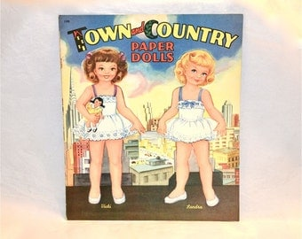 Original Town & Country Paper Doll Book, Saalfield, Akron, 1954 Uncut