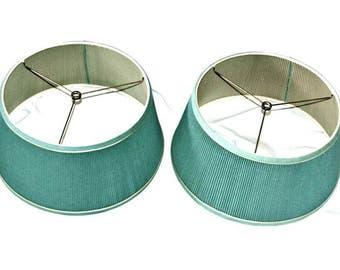 "Pair of Green Pleated Lamp Shades Vintage 15"" Diameter"
