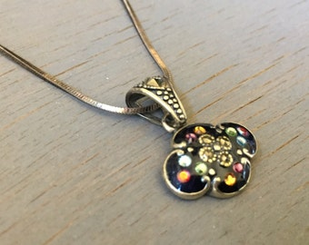 Sterling Enamel and Crystal Pendant Necklace Jewelry Gifts for Her