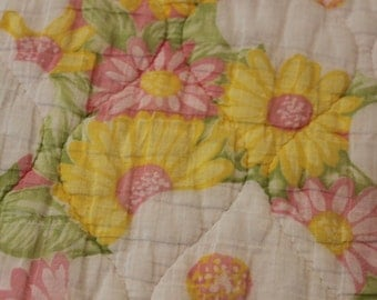 Vintage Flowers, Yellow and Pink, Twin Quilt