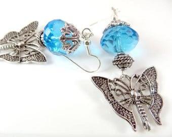Fancy blue butterfly earrings