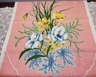 Vintage Floral LInen Hand Towel - Soft Pink with Blue & Yellow Flowers - Spring Garden