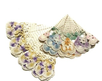 Pansy Ring Doilies Crochet Variegated Pastel Colors Handmade Vintage  Decor and Crafts