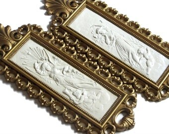 Dart Industries Ornate Antiqued Gold Angels and Cherubs Wall Plaques Hollywood Rococo Decor