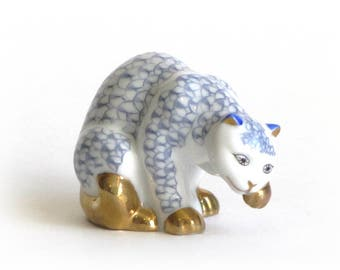 Herend Style Cat Franklin Mint Curio Cabinet White and Blue With Gold Details Collectible Kitty Figurine Mothers Day Gift
