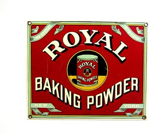 Vintage Royal Baking Powder Enamel Sign Red Advertising Promo Nabisco Retro Collectible Kitchen Decor Gift For Chef Baker