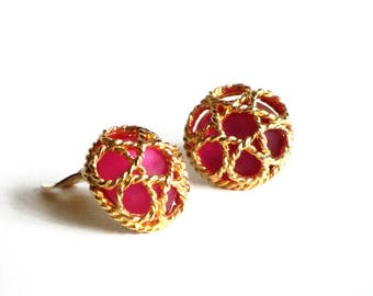 Paolo Gucci Gold Caged Hot Pink Cabochon Earrings Signed Designer Clip On Style Statement Runway Wedding Gift for Mom