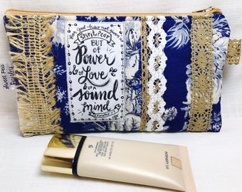 Small cosmetic bag - pencil bag -bible journaling- toile fabric scripture bag - make up bag - birthday girl gift - toiletry -travel feminine