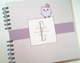 Baby Book |  Baby Memory Album | Purple Owl Wire Bound Baby Memory Book