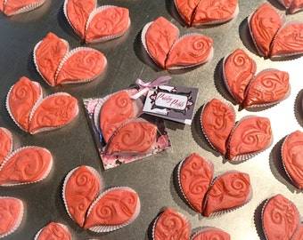 "Online Delivered Sweetheart Gift Packaged Tea Cookies: Twelve Pairs of ""Paisley Petals"" in Pink Raspberry with Buttercream Filling"