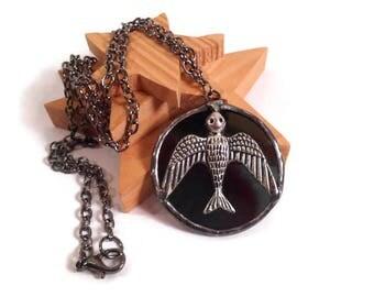 Stained Glass Jewelry Black Glass Necklace Glass Bird Pendant Handmade Jewelry Glass and Metal Necklace Black Sparrow Necklace Bird Jewelry