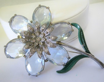 Blue Glass Flower Brooch - Faceted Glass Cabochons  - Rhinestone Center - Open Back Stones