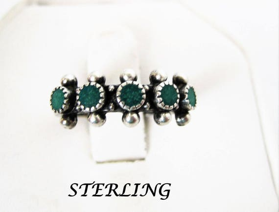 Sterling Silver Ring - Native American Turquoise - Size 6 Multistone Ring