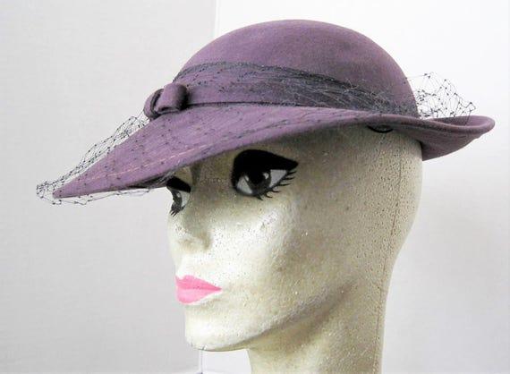 Purple Wool Hat - Vintage Betmar Label - Black Net Veil