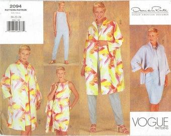 Vogue American Designer Oscar de la Renta A-Line Jacket, Sheath Dress, Sleeveless Top, Tapered Pants, Skirt Pattern. Uncut Sizes 20-22-24
