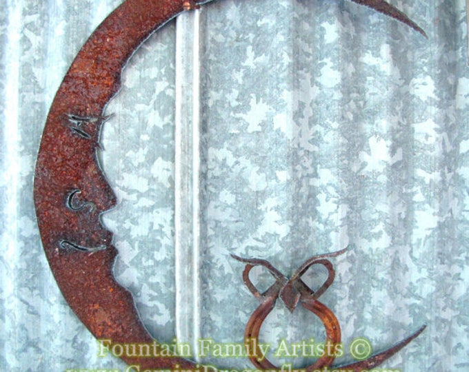 Rusty Metal Owl on Moon/ Recycled Garden Art/ Lucky Horseshoe/ Wall Art