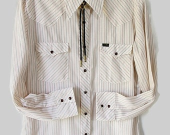 40%OFFSALE 70s Wrangler Shirt / Rockabilly / Stripes / Cowboy / Westernwear / Country Wedding