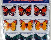 Free Shipping! Vintage Display Card With 12 Tin Butterfly Brooches By KTS Of Japan, Mint On Card
