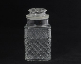 Vintage Pressed Glass Cur Glass Clear Squared Glass Jar Canister With Lid
