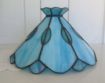 Vintage Blue Stained Glass Tiffany Style Lamp Shade Fixture Table Top Hanging or Swag Ceiling Light Two Toned