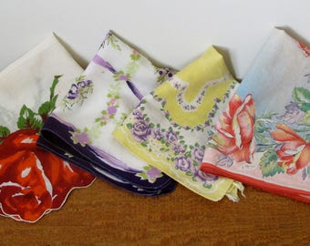 Vintage Handkerchifs Soft Cotton Hankies Napkins Set of 4 Eclectic