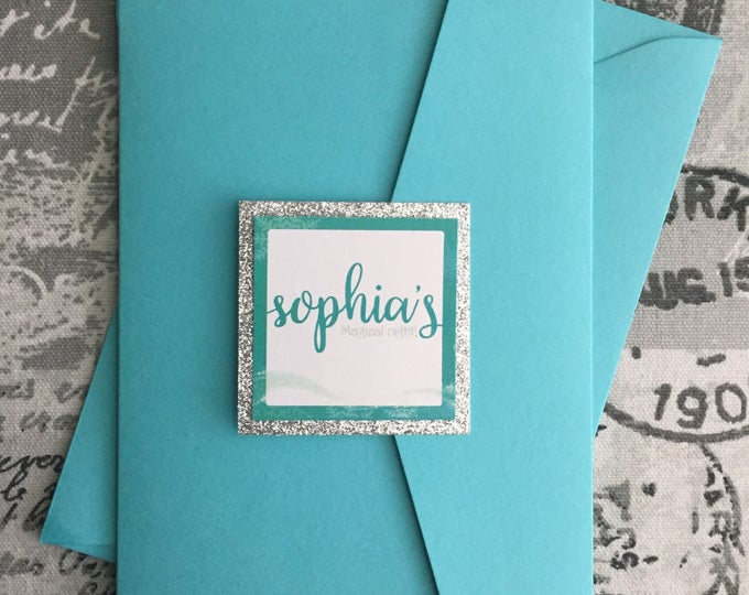 Quinceañera Invitation, turquoise and silver with personalized glitter enclosure card. Winter wonderland theme. Pocket sweet sixteen.