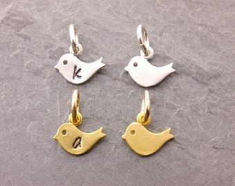 Add On Charm, baby bird charm, add charms, silver bird, gold bird, personalized charm, initial charm, baby initial charm, chick, AD