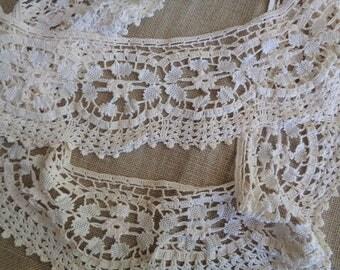 Vintage Crochet Lace Handmade Circular Edging Cream and Ecru 53-1/2 Inches