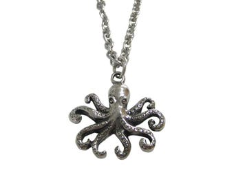 Silver Toned Textured Octopus Pendant Necklace