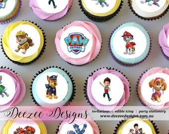"Paw Patrol Mini Edible Icing Cupcake Toppers - 1.5"" - Sheet of 30 PRE-CUT"