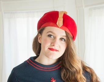 Vintage red velvet beret hat, gold yellow ribbon, 1960s mod school girl