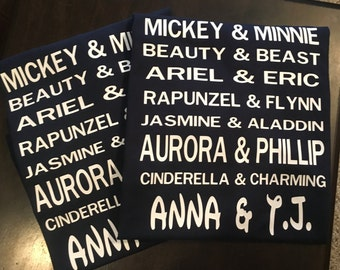 Custom Personalized Set Disney Couples Tshirts - His and Hers Disney Shirts - Matching Couples Shirts