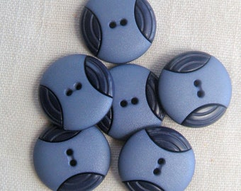 6 Big Two-Tone Blue Buttons,  28mm, 2 Hole,Central core of Matte finish Light Blue with two ribbed crescents  of Dark Blue,   Dill Brand